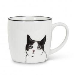 Caneca Cerâmica Gato Branca CatLovers Decorativa Café Chá