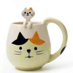 Caneca Cerâmica com Gatinho CatLovers Decorativa Café Chá