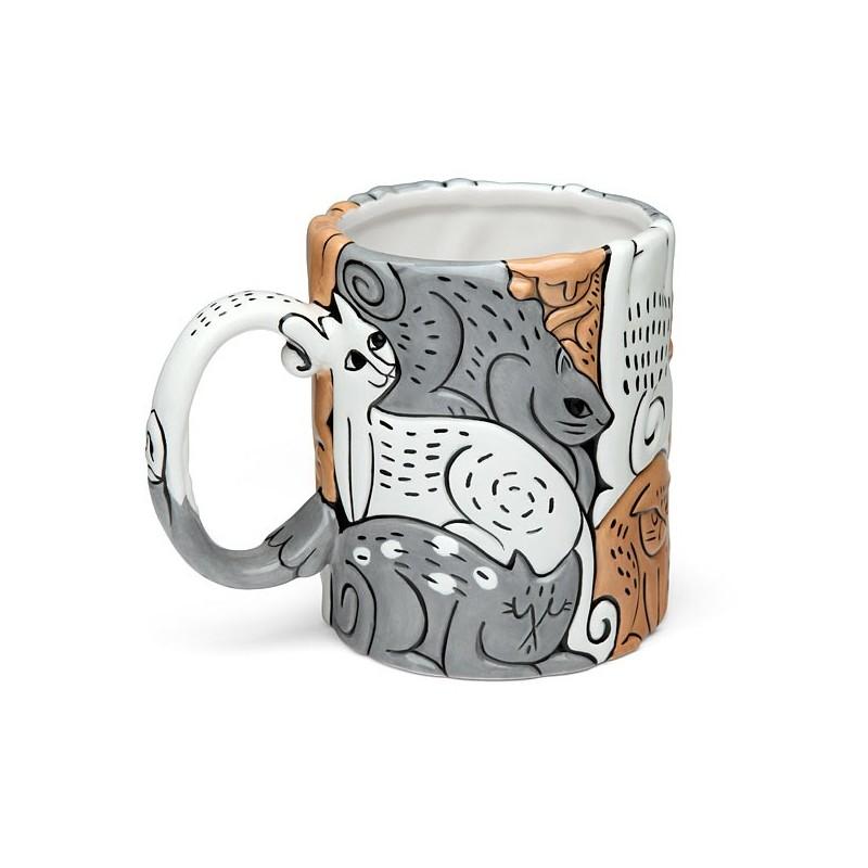 Caneca Cerâmica Gatos em Relevo Café Chá Decorativa Cat Lovers