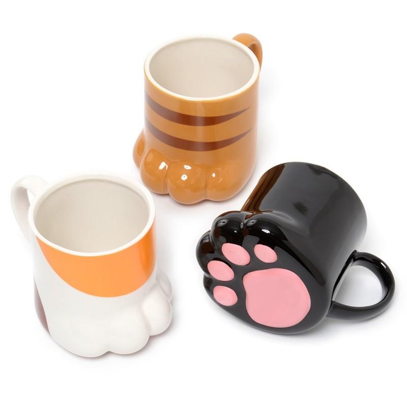 Kit 3 Mini Canecas Cerâmica Patinha de Gato em Relevo Café Chá Decorativa Cat Lovers