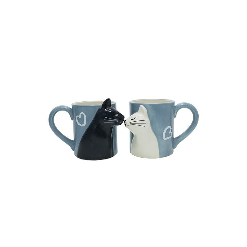 Kit 2 Canecas Gatos Preto e Branco Cat Lovers Presente