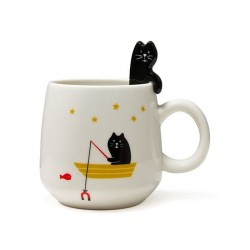Caneca Gato Preto Pescando Cat Lovers Presente Decorativa