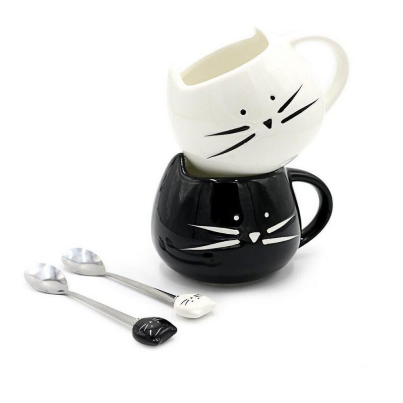 Conjunto Canecas Gato Preto e Branco Cat Lovers Presente Decorativa