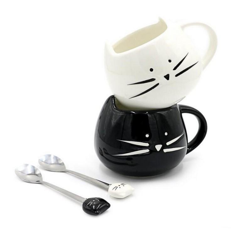 Conjunto Canecas Gato Preto e Branco Cat Lovers Presente Decorativa
