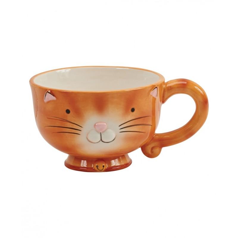 Caneca de Sopa Cerâmica Gato Laranjada Cat Lovers Decorativa