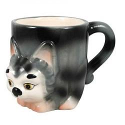 Caneca Cerâmica Gatinho Cinza Alto Relevo Decorativa Cat Lovers