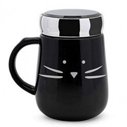 Caneca Gato Preto Cerâmica com Tampa de Inox Cat Lovers