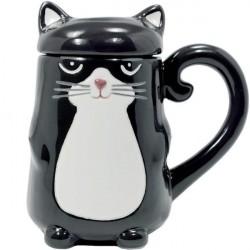 Caneca Gato Preto Cerâmica com Tampa Cat Lovers