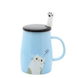 Caneca Cerâmica Azul com Tampa e Colher Gatinho Cat Lovers