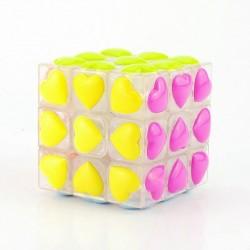 Cubo Mágico Corações Colorido Base Transparente Desafio Presente Geek