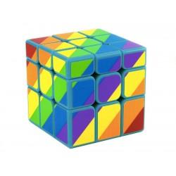 Cubo Mágico 3x3x3 Multicolorido Arco-íris Base Azul Desafio Geek