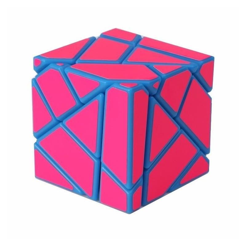 Cubo Mágico Rosa Irregular Base Azul Desafio Geek