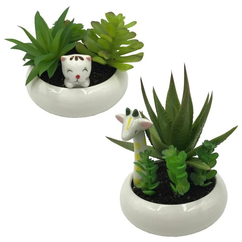 Kit 2 Vasinhos Gatinha e Girafa para Plantas Suculentas ou Cactus
