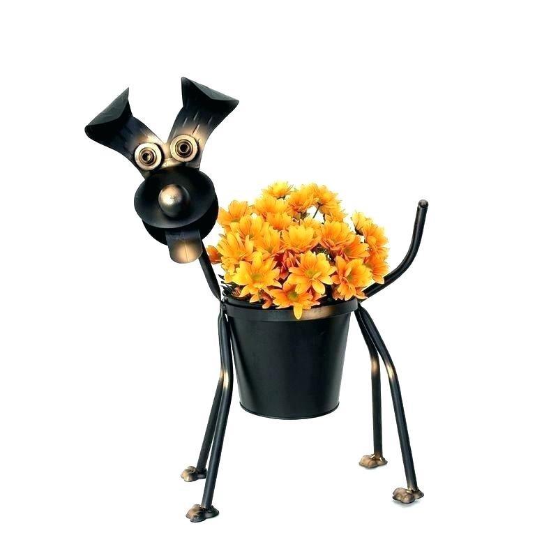 Vaso para Plantas Suculentas ou Cactus Metálico Cachorro Preto