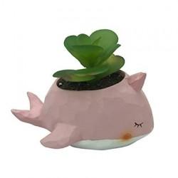 Mini Vaso Cerâmica Baleia Cor de Rosa Plantas Suculentas Cactus