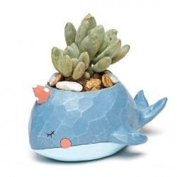 Mini Vaso Cerâmica Baleia Azul Plantas Suculentas Cactus