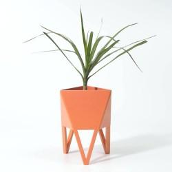 Mini Vaso em Fibra de Vidro para Plantas Suculentas ou Cactus Salmão