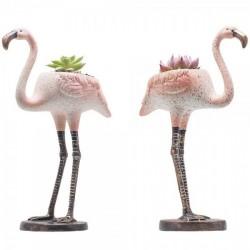 Kit 2 Mini Vasos Cerâmica para Plantas Suculentas ou Cactus Flamingos