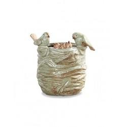 Vaso Cerâmica Ninho Passarinho para Plantas Suculentas Cactus