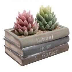 Vaso Cerâmica Formato de Pilha de Livros para Plantas Suculentas Cactus e Flores