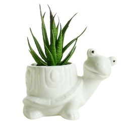 Vaso para Suculenta e Cactus Formato de Tartaruga Branco Cerâmica