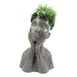 Vaso para Suculentas e Cactus Estátua Busto Feminino