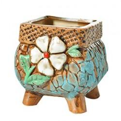 Vaso para Suculentas e Cactus Artesanal Pintado a Mão