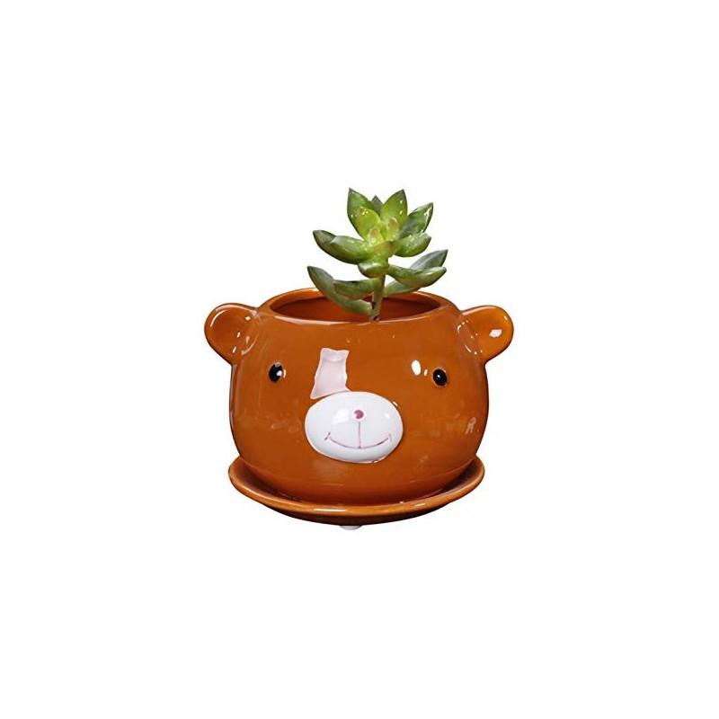 Vaso Formato de Urso em Cerâmica para Suculentas e Cactus