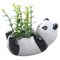 Mini Vaso Urso Panda Cerâmica para Suculentas e Cactus