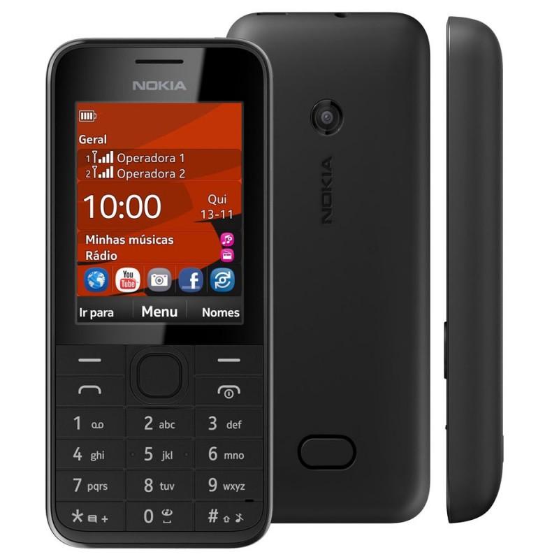 Celular Nokia 208 Preto Dual Chip Câmera 1,3MP 3G Bluetooth Rádio FM MP3 Fone de Ouvido