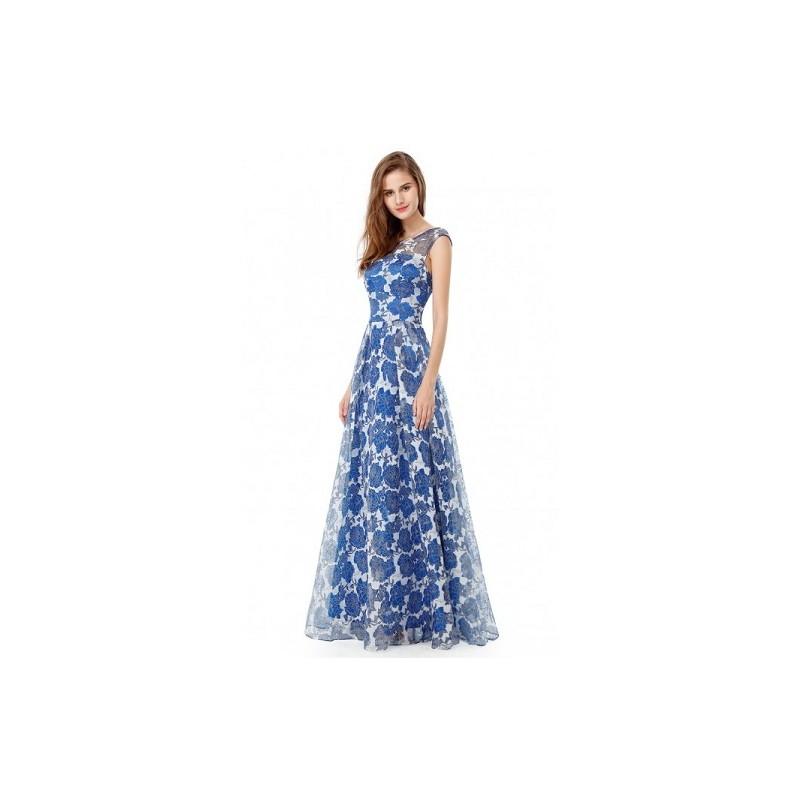 Vestido Longo Estampado Floral Azul Festa Chiffon