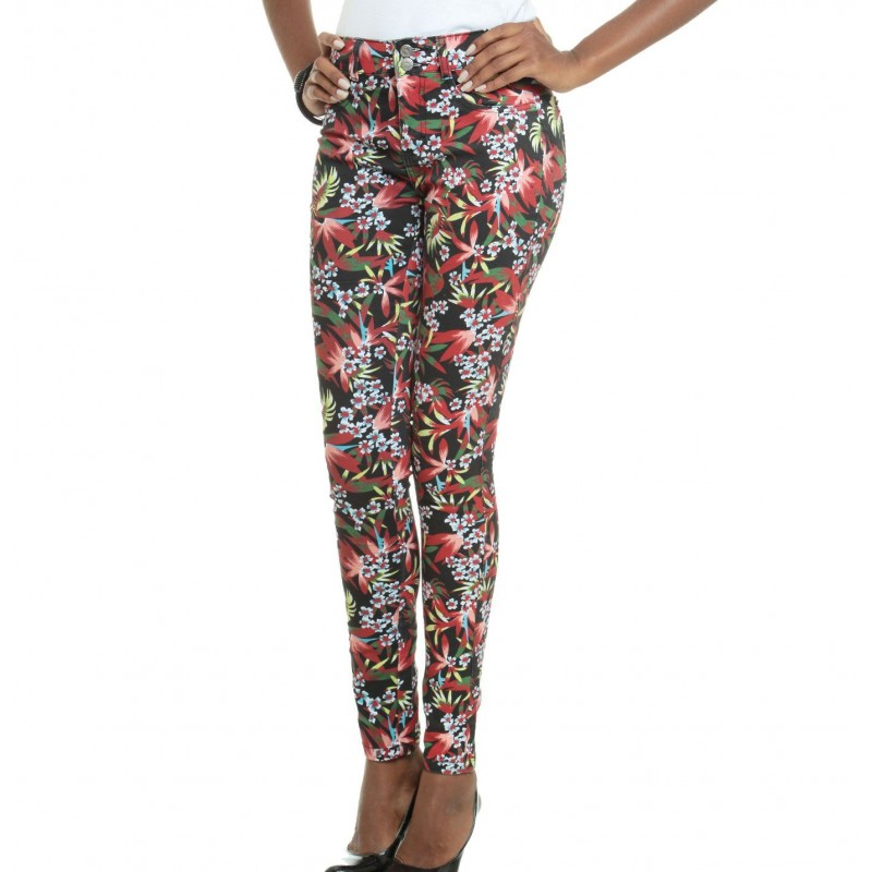 Calça Feminina Jeans Skinny Estampada Floral