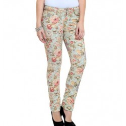 Calça Feminina Skinny Sarja Estampada Floral
