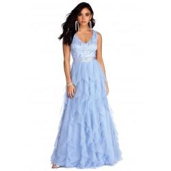 Vestido Festa Azul Claro...