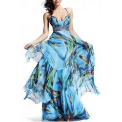 Vestido Festa Estampado Azul Casamento Madrinha