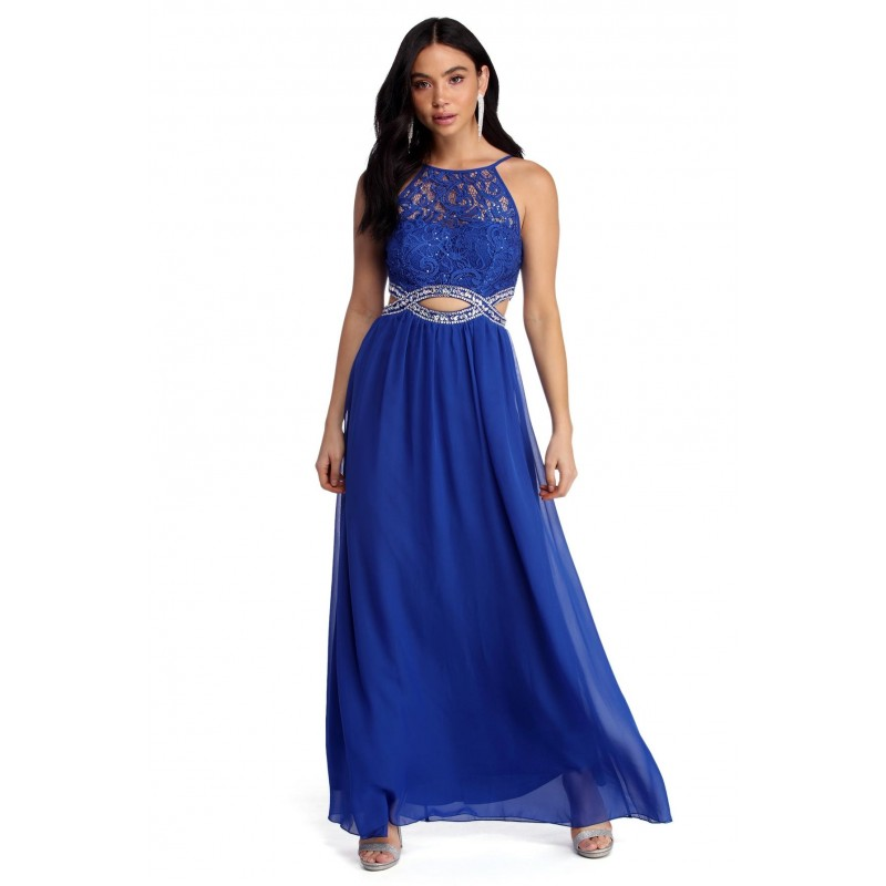 Vestido Azul Royal Longo Festa Renda Brilho