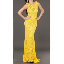 Vestido Longo Festa Renda Amarelo