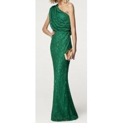 Vestido Longo Festa Verde Renda Estilo Romano Assimétrico
