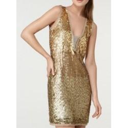 Vestido Festa Paetê Brilho Dourado