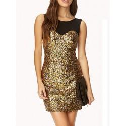 Vestido Festa Paetê Dourado Curto