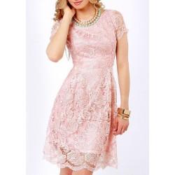 Vestido Renda Rosa Acinturado