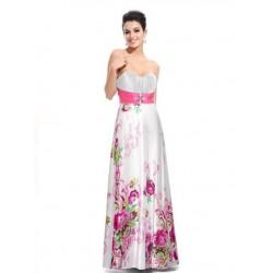 Vestido Festa Longo Branco e Rosa Floral