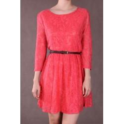 Vestido Renda Coral Mangas