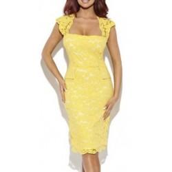 Vestido Amarelo Renda Justo