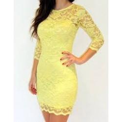 Vestido Renda Amarelo Justo Mangas
