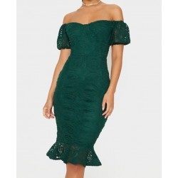 Vestido Renda Verde Ombros...