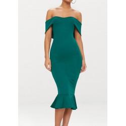 Vestido Tafetá Verde Ombros...
