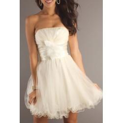 Vestido Festa Branco Tule Tomara que Caia