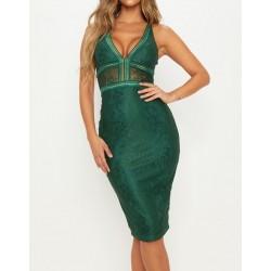 Vestido Renda Verde Decote...