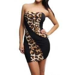 Vestido Curto Estampado Leopardo Tomara que Caia